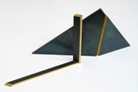 2 Object 1980. steel, leave gold, 40x15cm